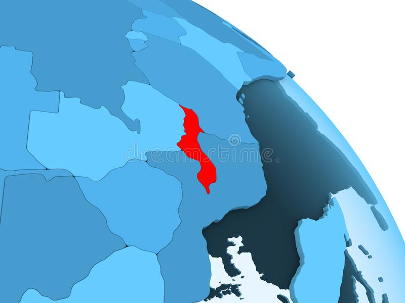 Malawi op blauwe bol vector illustratie