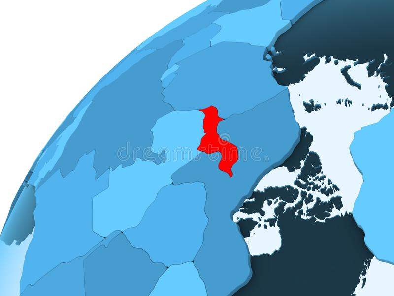 Malawi op blauwe bol stock illustratie