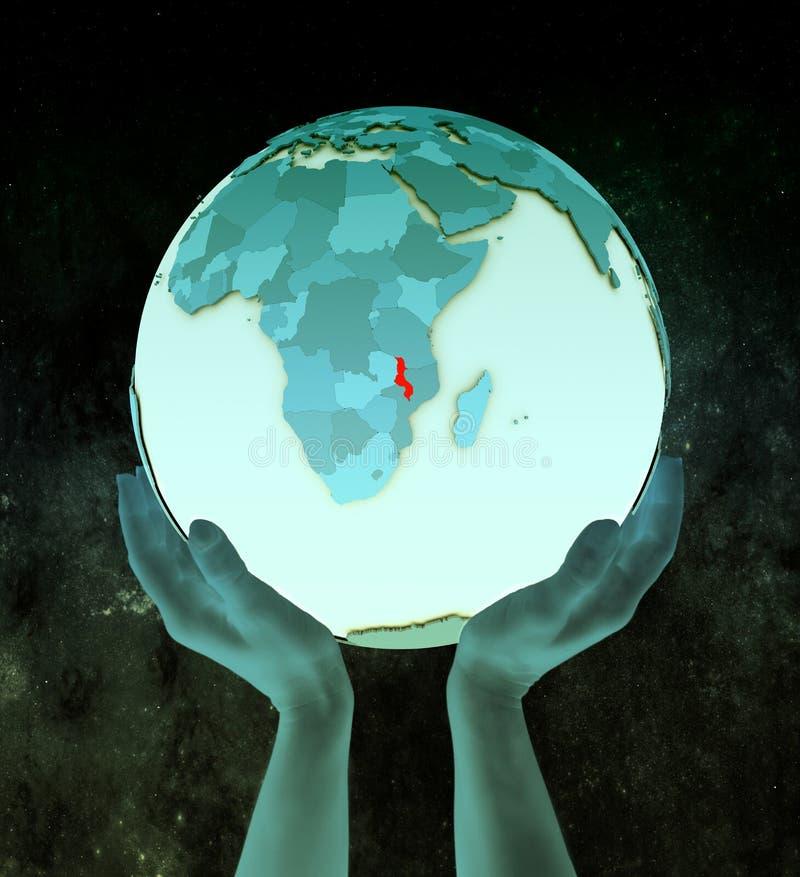 Malawi op blauwe bol in handen stock illustratie