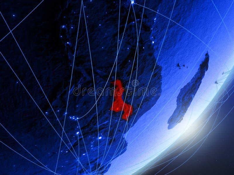 Malawi op blauwe blauwe digitale Aarde royalty-vrije illustratie