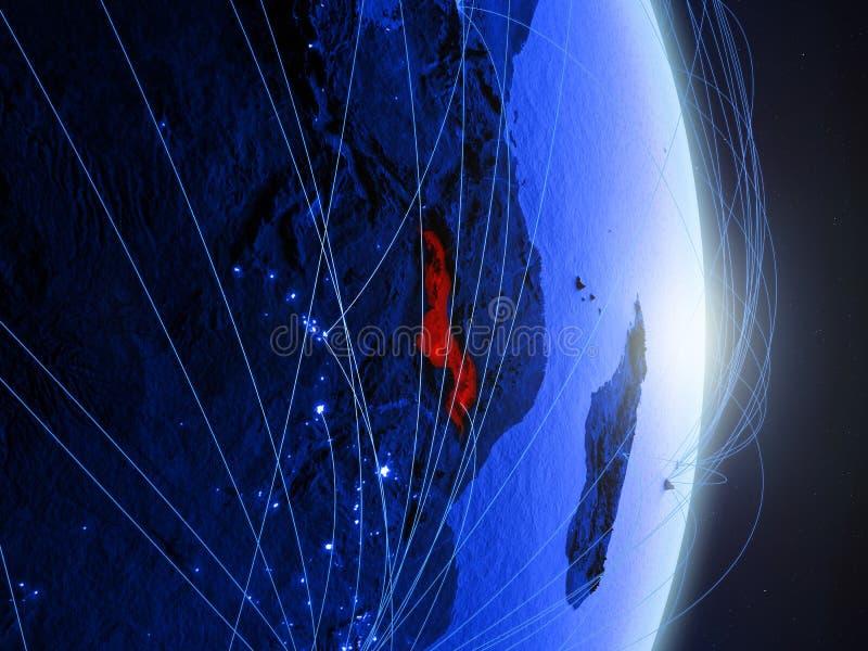 Malawi op blauwe blauwe digitale Aarde royalty-vrije stock afbeelding
