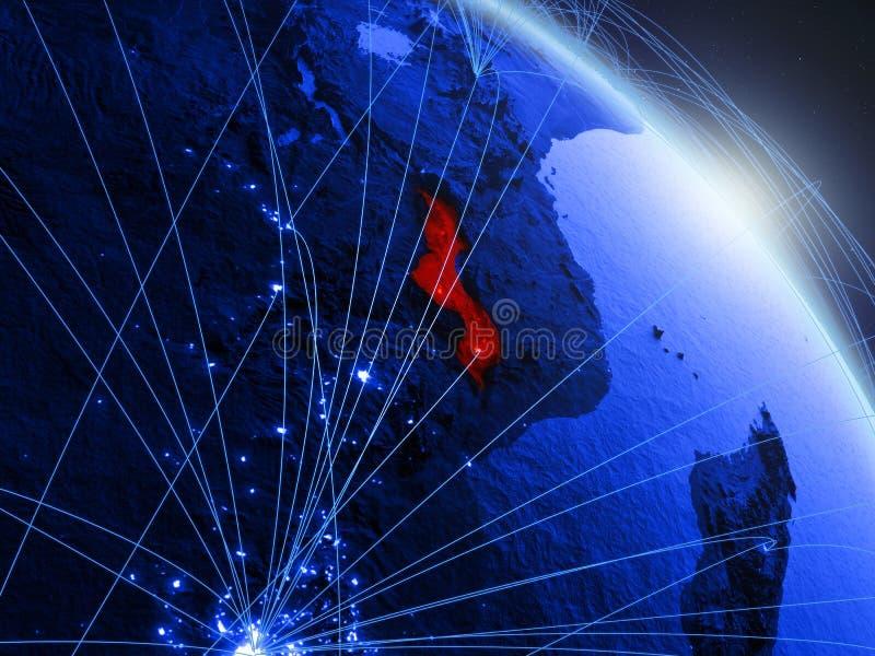 Malawi op blauwe blauwe digitale bol royalty-vrije illustratie