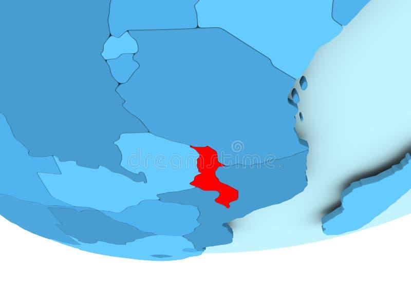 Malawi in rood op blauwe kaart vector illustratie