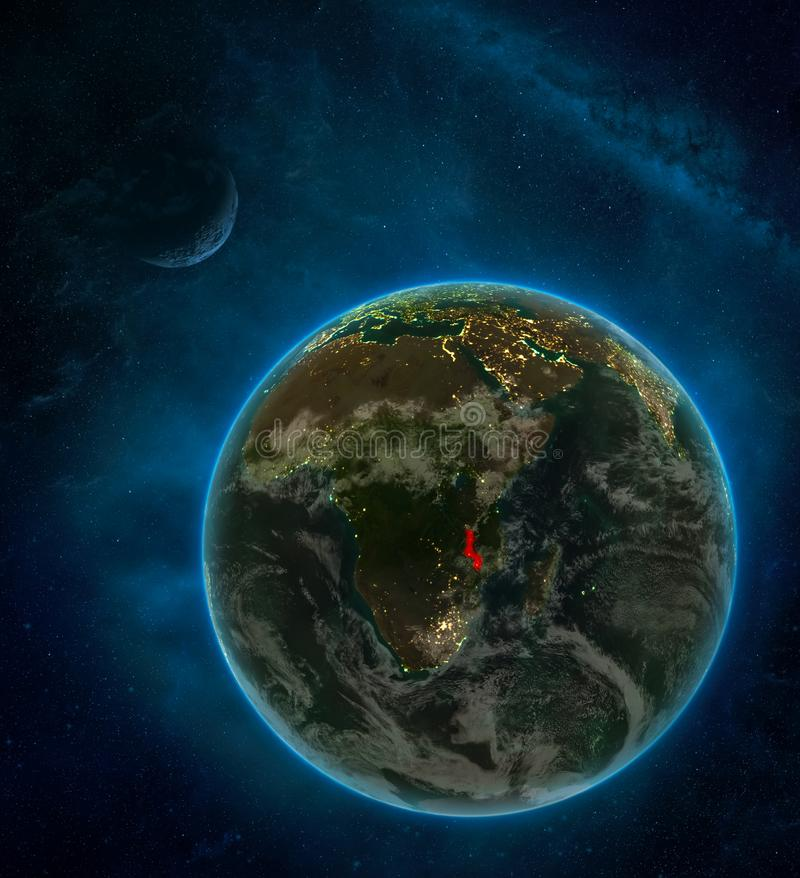 Malawi from space on Earth at night surrounded by space with Moon and Milky Way. Detailed planet with city lights and clouds. 3D. Illustration. Elements of this stock illustration