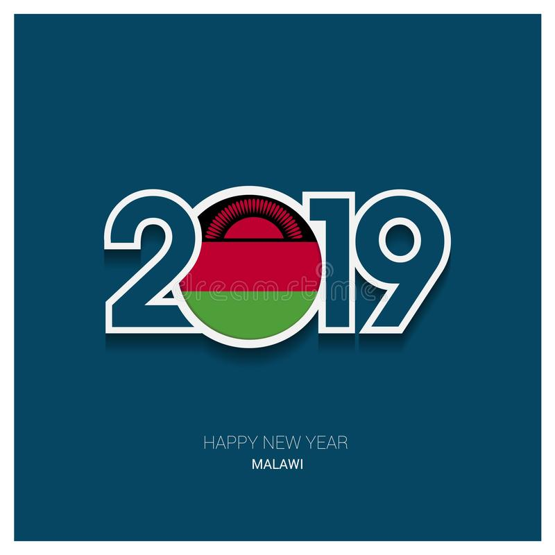 2019 Malawi typografi, bakgrund för lyckligt nytt år royaltyfri illustrationer