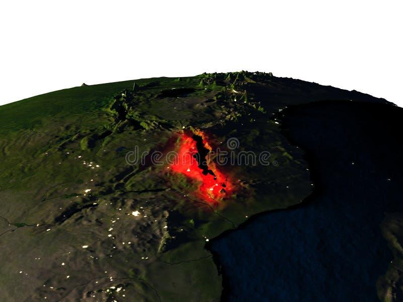 Malawi van ruimte bij nacht stock illustratie