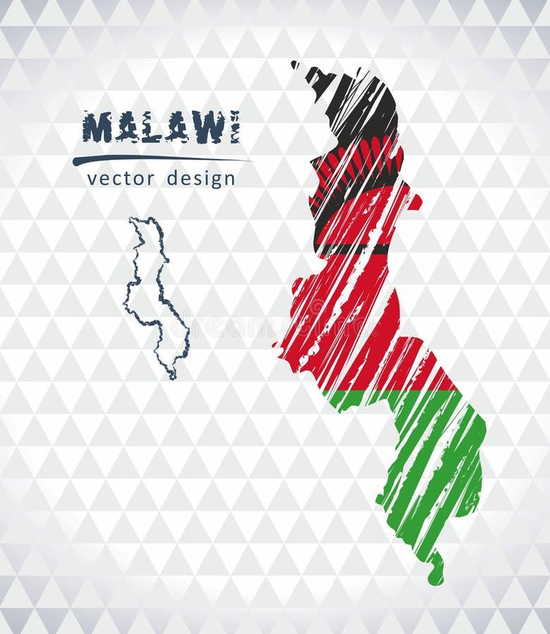 Malawi-Vektorkarte mit dem Flaggeninnere lokalisiert auf einem weißen Hintergrund Gezeichnete Illustration der Skizzenkreide Hand lizenzfreie abbildung