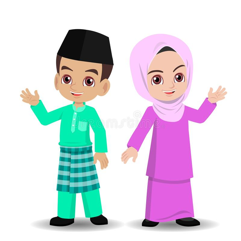 Free Malay Girl And Boy With Hari Raya New Clothes Stock Image - 182121451