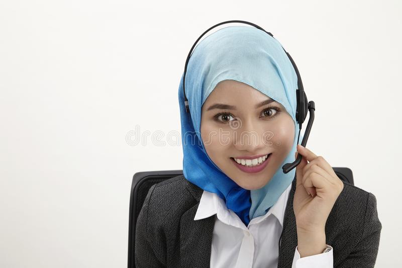 Malay receptionist, royalty free stock photography