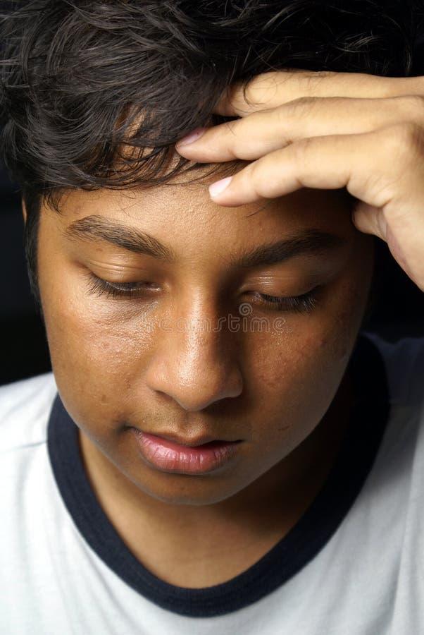 Malay triste adolescente fotografia de stock royalty free