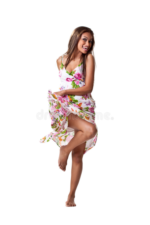 Malay young woman flipping dress stock images