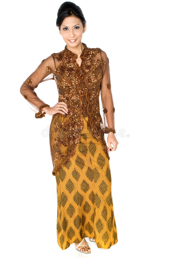 Malaykvinna i klänning royaltyfria bilder