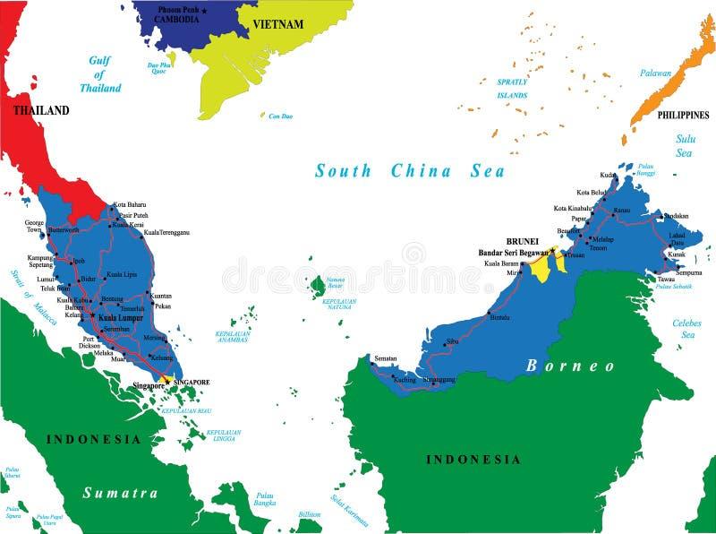 malaysia översikt royaltyfri illustrationer