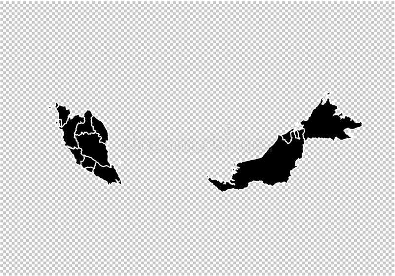 Malaysia översikt - detaljerad svart översikt för höjdpunkt med län/regioner/stater av Malaysia Malaysia översikt som isoleras på stock illustrationer