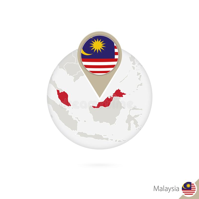 Malaysia översikt och flagga i cirkel Översikt av Malaysia, Malaysia flaggastift Översikt av Malaysia i stilen av jordklotet royaltyfri illustrationer