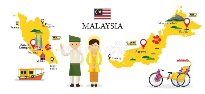 Malaysia översikt och gränsmärken med folk i traditionella kläder vektor illustrationer