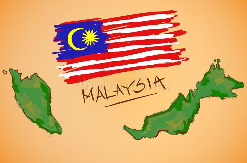 Malaysia översikt och nationsflaggavektor royaltyfri illustrationer