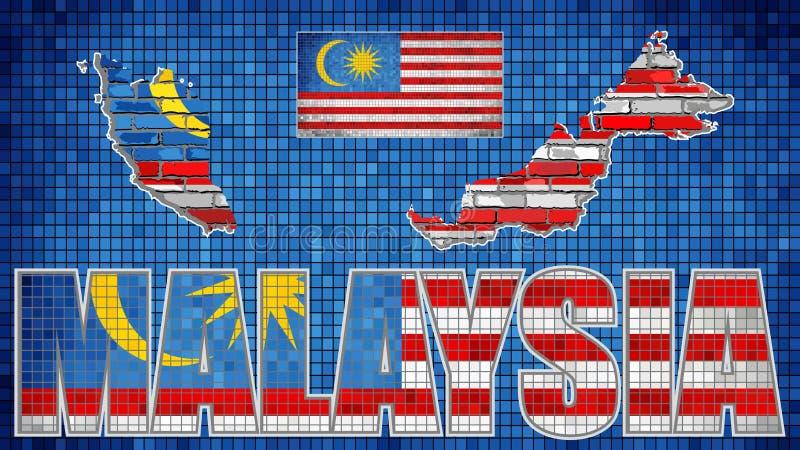 Malaysia översikt på en tegelstenvägg royaltyfri illustrationer
