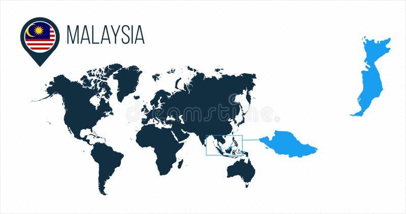 Malaysia översikt som lokaliseras på en världskarta med flaggan och översiktspekare eller stift Infographic översikt Vektorillust stock illustrationer
