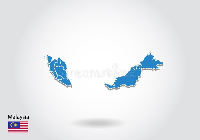 Malaysia översiktsdesign med stil 3D Blå Malaysia översikt och nationsflagga Enkel vektoröversikt med konturen, form, översikt, p vektor illustrationer