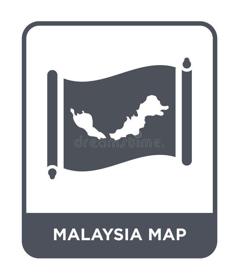 Malaysia översiktssymbol i moderiktig designstil Malaysia översiktssymbol som isoleras på vit bakgrund enkel symbol för Malaysia  royaltyfri illustrationer