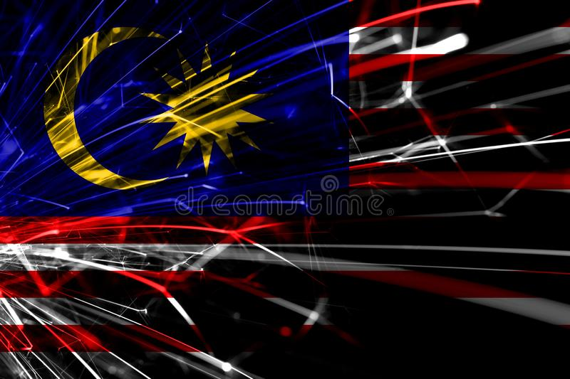 Malaysia abstract fireworks sparkling flag. New Year, Christmas and National day concept vector illustration