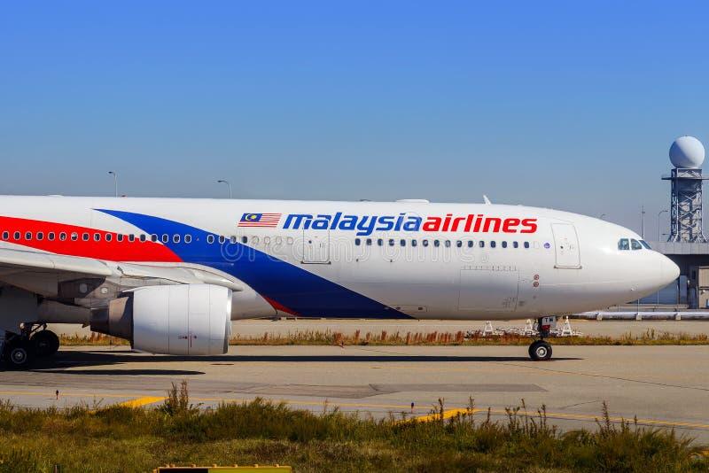 Malaysia Airlines en Osaka, Japón imagen de archivo