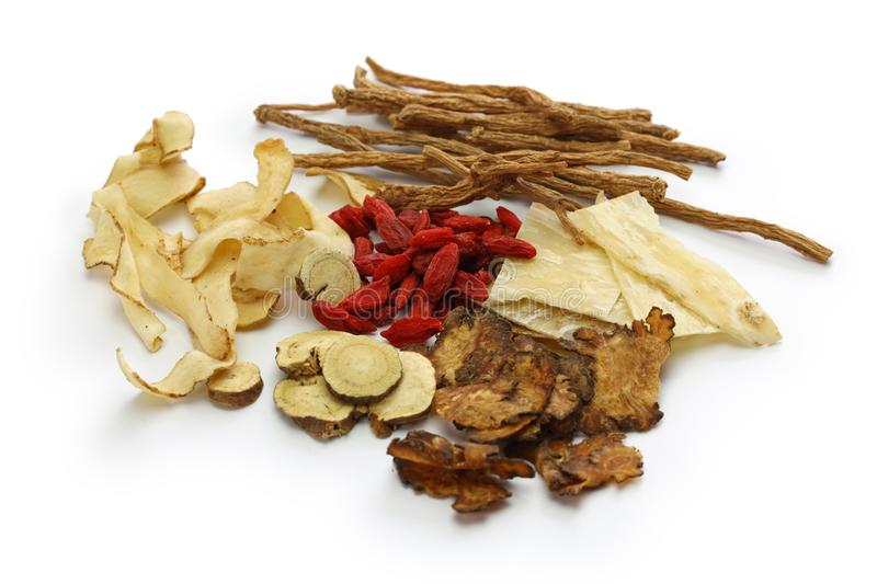 Malaysia bak kut teh ingredients, traditional chinese herbal medicine. Isolated on white background royalty free stock image