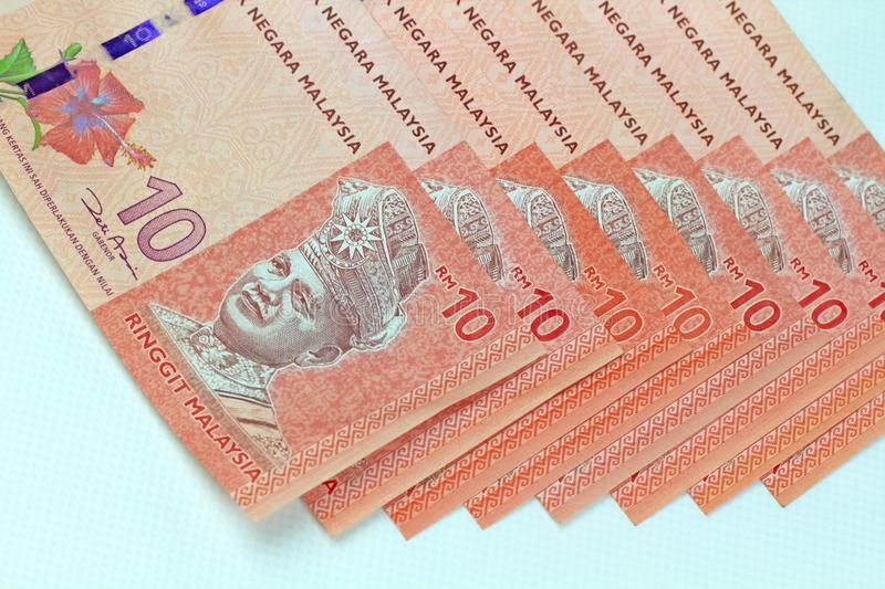 Malaysia-Banknotenweißhintergrund stockbild