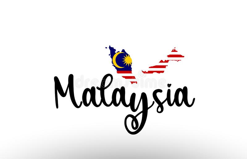 Malaysia country big text with flag inside map concept logo vector illustration