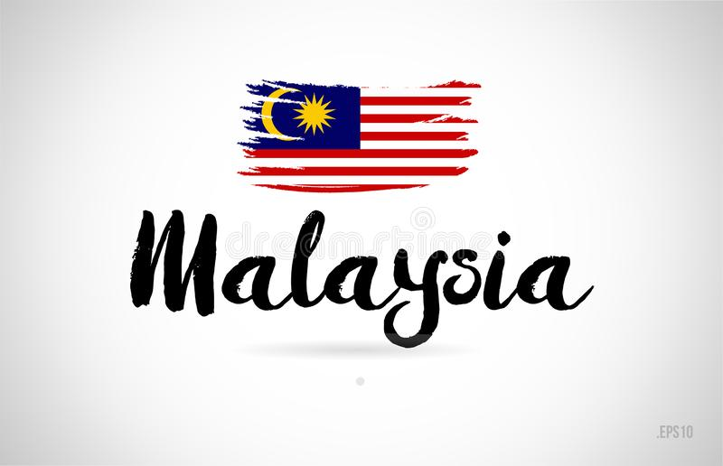 malaysia country flag concept with grunge design icon logo royalty free illustration
