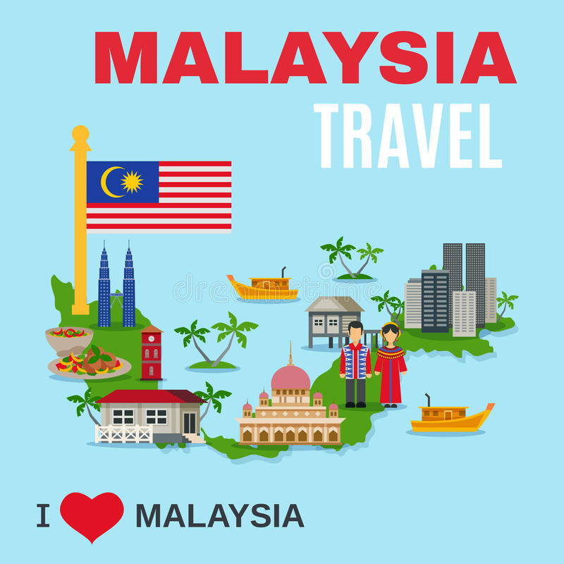 Malaysia Culture Travel Agency Flat Poster Stock Vector