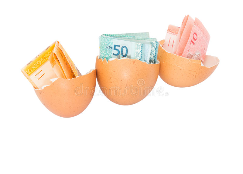 Malaysia Currency and Eggshells II royalty free stock photography