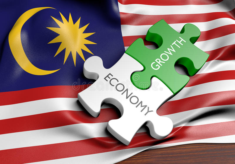 Malaysia economy and financial market growth concept. 3D rendered concept of Malaysia`s economy and financial market growth royalty free illustration