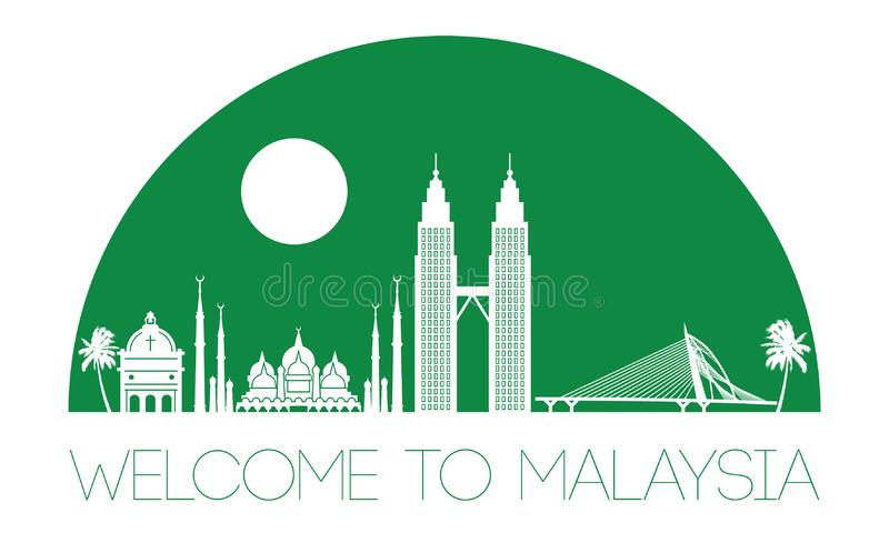 Malaysia famous landmark silhouette style, text within,green color stock illustration