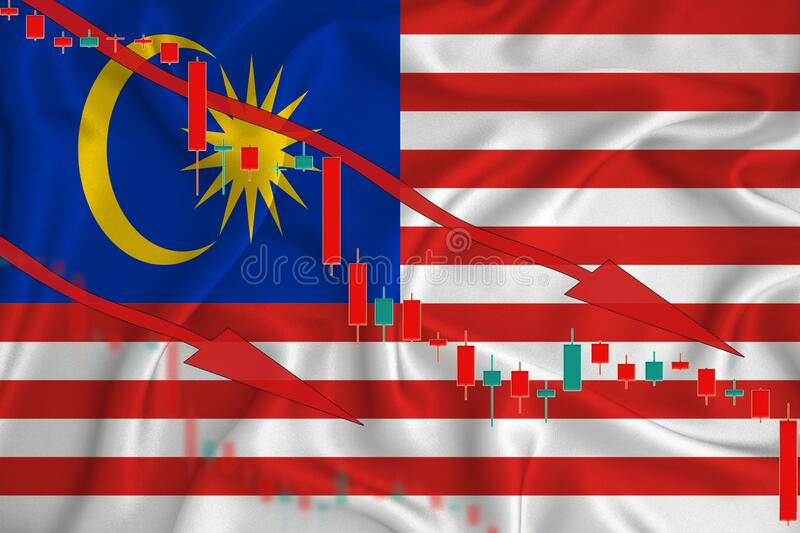 Malaysia flag, the fall of the currency against the background of the flag and stock price fluctuations. Crisis concept with. Falling stock prices of companies royalty free stock image