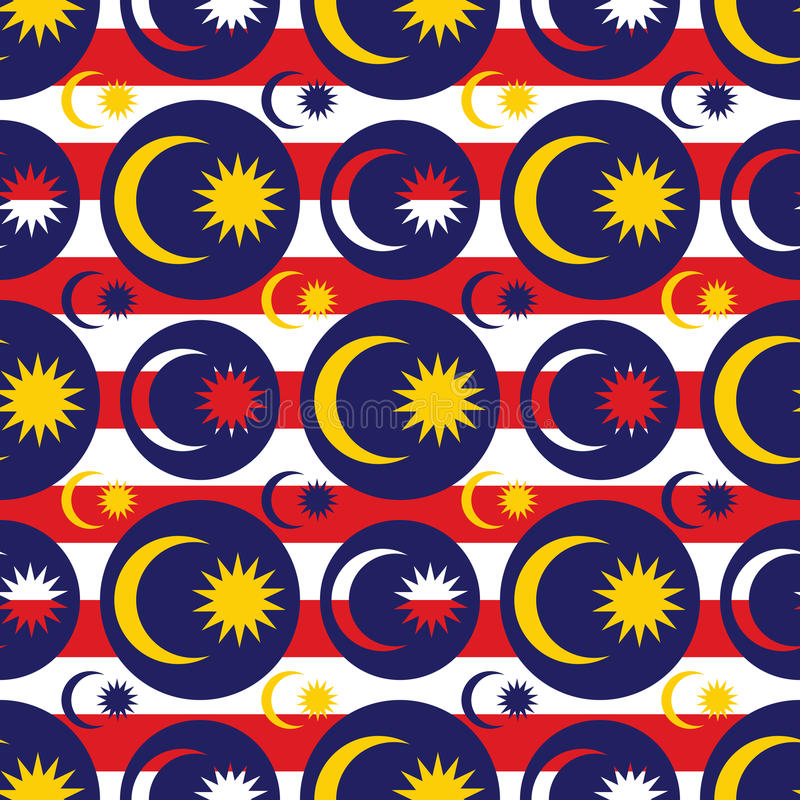 Malaysia flag icon symmetry seamless pattern. This illustration is drawing Malaysia flag icon element in symmetry background seamless pattern stock illustration