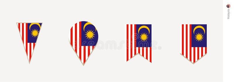 Malaysia flagga i den vertikala designen, vektorillustration vektor illustrationer