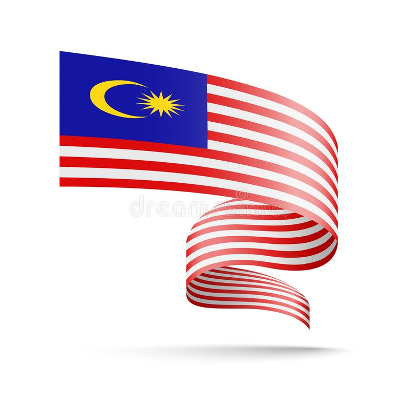 Malaysia flagga i form av vågband vektor illustrationer