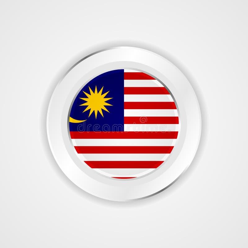 Malaysia flagga i glansig symbol royaltyfri illustrationer