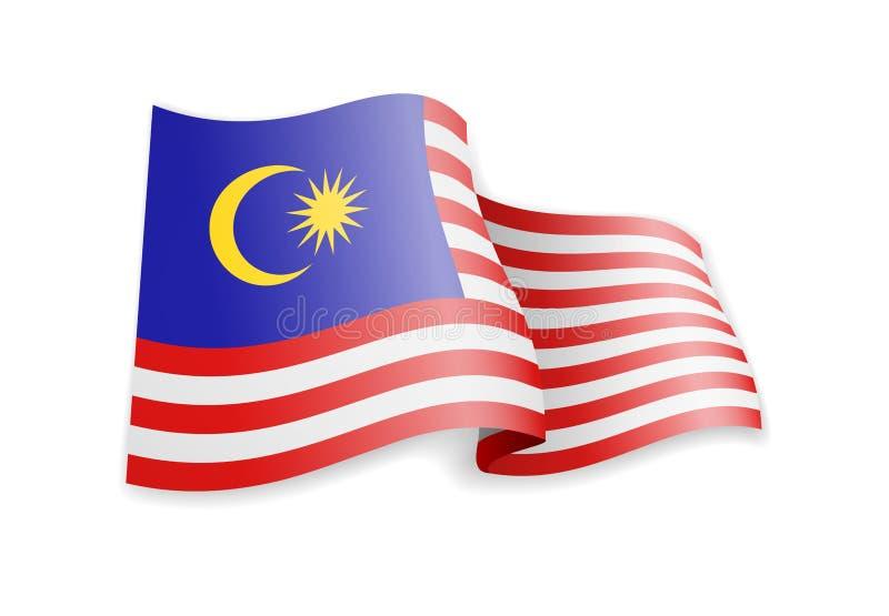 Malaysia flagga i vinden Flagga p? den vita vektorillustrationen vektor illustrationer