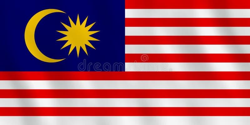 Malaysia flagga med vinkande effekt, officiell proportion vektor illustrationer
