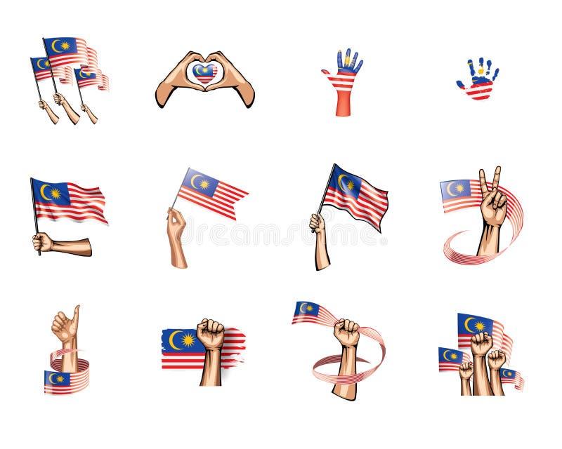 Malaysia flagga och hand på vit bakgrund också vektor för coreldrawillustration stock illustrationer
