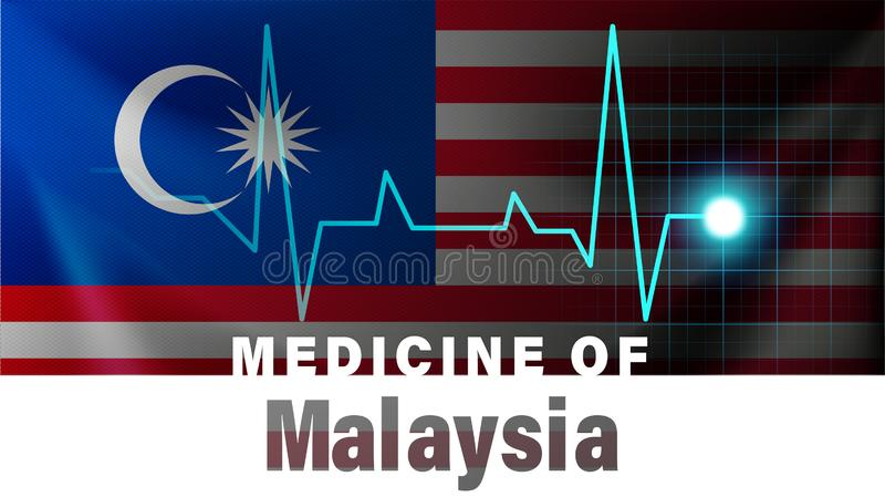 Malaysia flagga och hjärtslaglinje illustration Medicin av Malaysia med landsnamn stock illustrationer