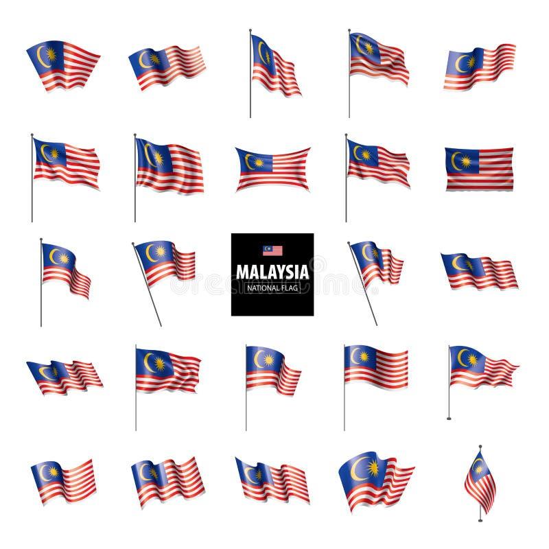 Malaysia flagga, vektorillustration stock illustrationer
