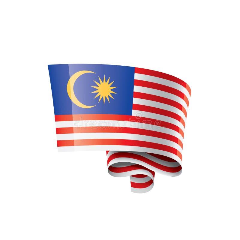 Malaysia flagga, vektorillustration på en vit bakgrund vektor illustrationer