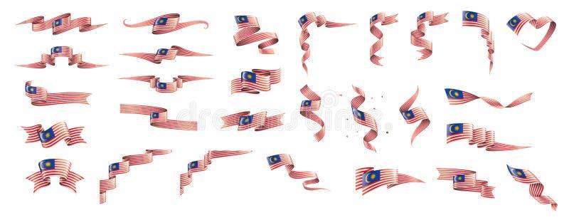 Malaysia flagga, vektorillustration p? en vit bakgrund royaltyfri illustrationer