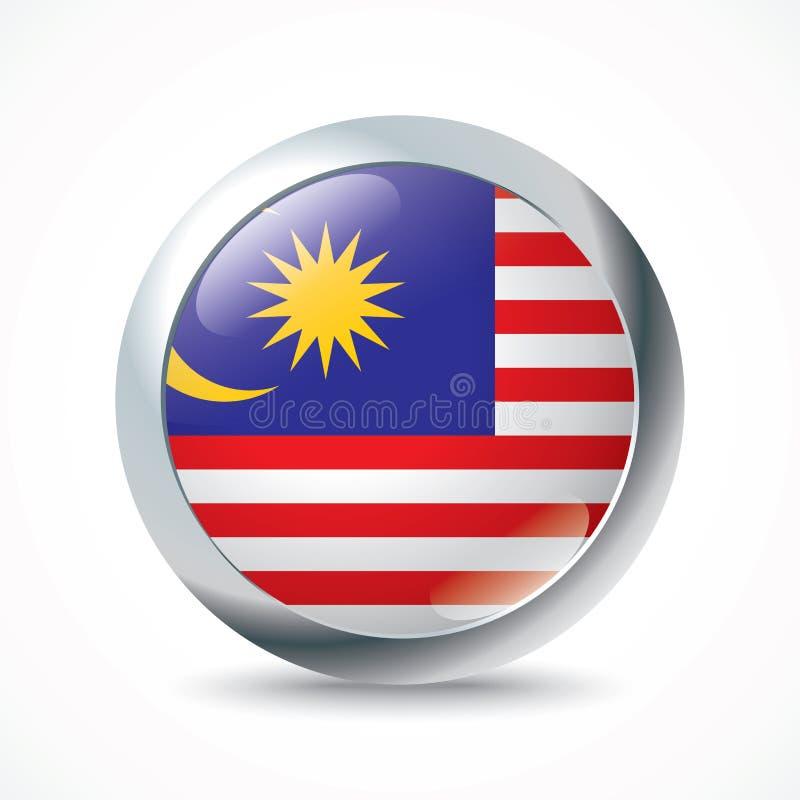 Malaysia flaggaknapp royaltyfri illustrationer