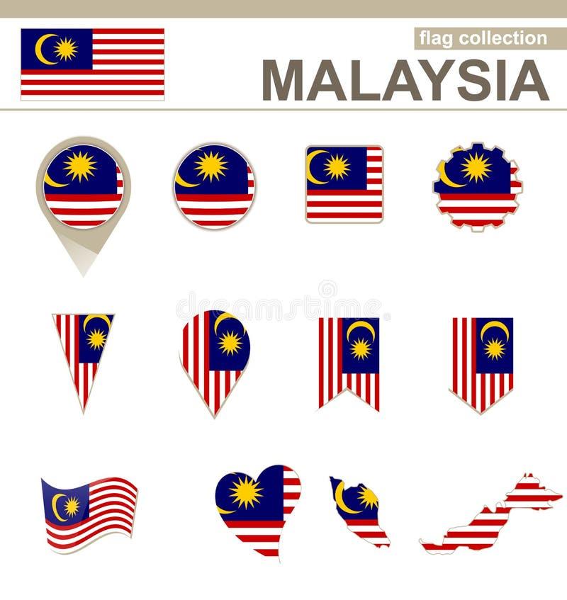 Malaysia flaggasamling vektor illustrationer