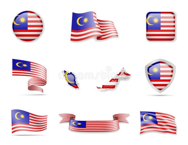 Malaysia flaggasamling Fastst stock illustrationer